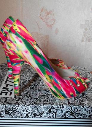 Радужные туфельки с французским пальчиком