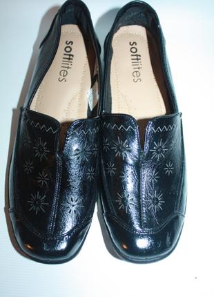 Мокасины туфли черные с узором новые сток sofflites (к027)