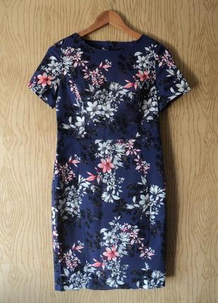 Платье чехол футляр коротким рукавом миди колена цветочек цветочный принт синее хлопковое
