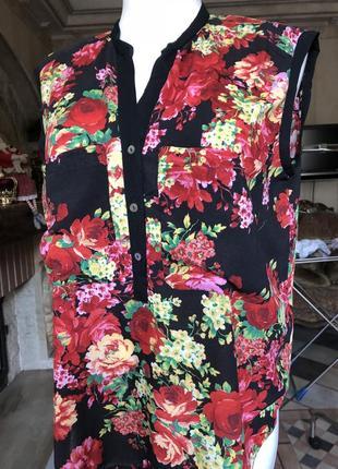 Блуза , кофта /beniton / ярко красные цветы/3 фото