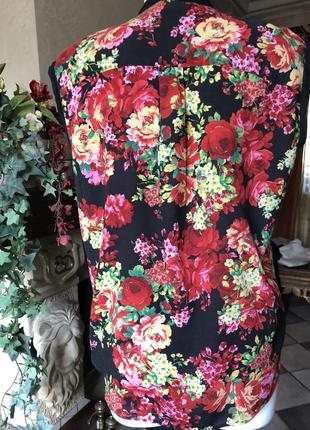 Блуза , кофта /beniton / ярко красные цветы/2 фото