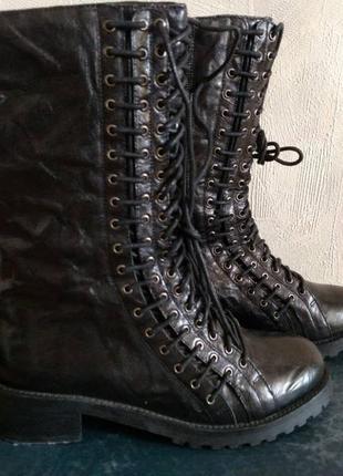 Ботинки высокие из натуральной кожи braska
