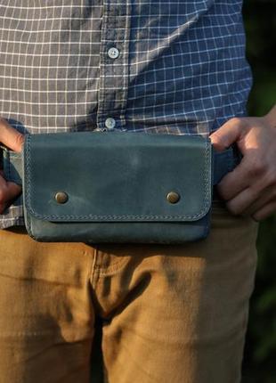 Кожная сумка-кошелёк с поясом / сумка на пояс / поясная сумка . синий цвет. ручная работа