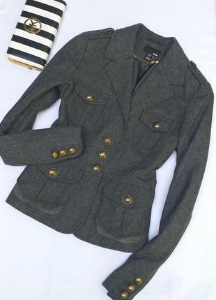 Класный шерстяной  пальто пиджак в милитари стиле от h&m
