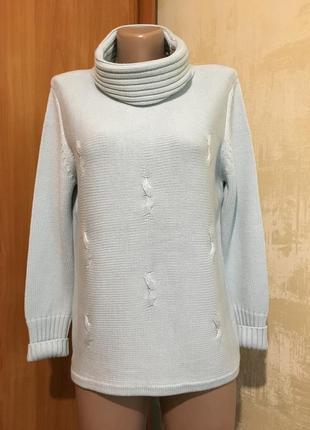 Ментоловый полушерстяной свитер с хомутом.р.m-l