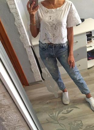 Стильная белая коттоновая блуза блузка футболка zara