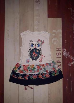 Мега стильное платье gloria jeans с совушкой на 1-2.5 года