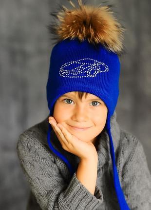 Зимняя шапка меринос с меховым помпоном