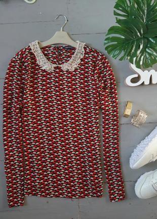Актуальная шифоновая блуза с кружевным воротником №147