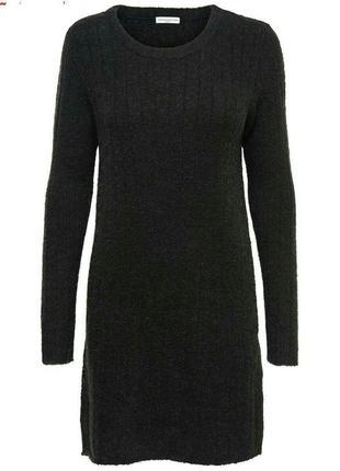 Вязаное теплое платье гольф цвет графит с шерстью