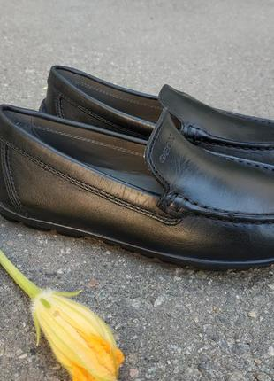 Новые кожаные туфли лоферы geox new fast. оригинал