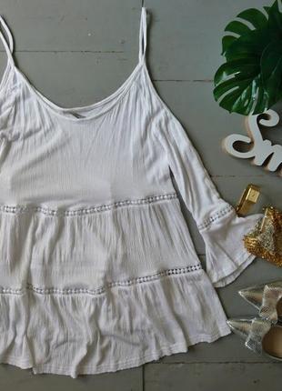 Актуальная блуза с открытыми плечами и кружевными вставками №158