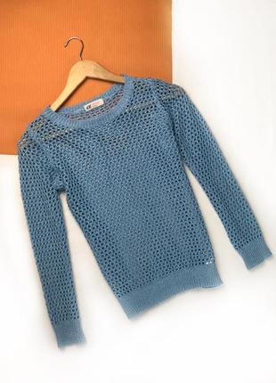 Кофта лайкра свитер в дырочку джемпер осенний