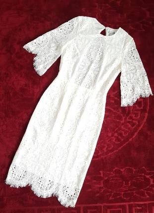 Белое кружевное вечернее, выпускное, свадебное платье миди h&m с открытой спинкой.