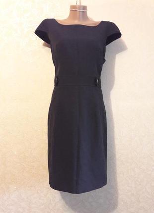 Стильное серое офисное платье футляр в полоску