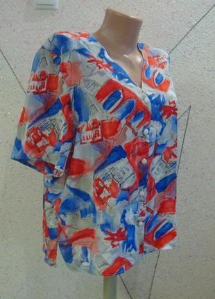 Интересная блуза в акварельный принт. размер 14-18