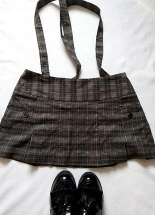 Стильная клетчатая юбка с подтяжками!