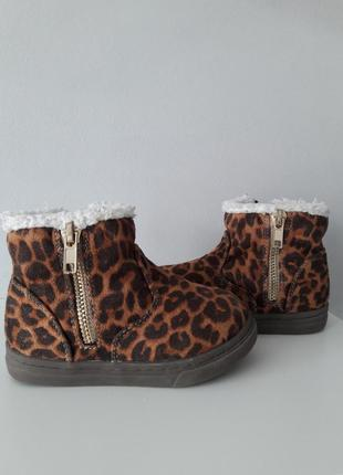 Шикарні утеплені леопардові ботіночки din sko