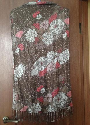 Идеальный шарф шаль палантин парео в осенние цветы. лучшая цена!