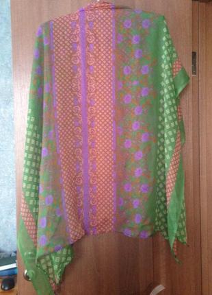 Роскошный шарф шаль палантин парео в замысловатые узоры  натуральный шелк. лучшая цена!