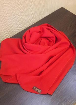 🌷шикарнейший шарф шаль плотный шифон красный