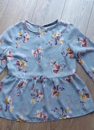Блуза с баской шифон в цветах zara