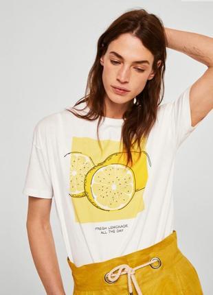 Футболка mango с лимонами 100% хлопок