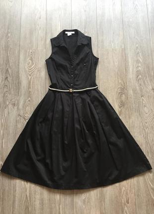 Чёрное платье-рубашка без рукавов расклешенное, деловое, офисное, элегантное, zara, хлопок