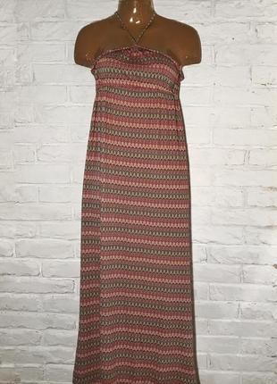 Летнее платье/сарафан на шею длинное, миди в орнамент, разноцветное s/m