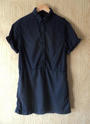 Платье рубашка topshop коротким рукавом короткое мини petite синее воротником прямое