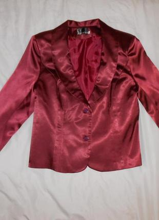 Атласный пиджак жакет бордового цвета, р-р наш 50