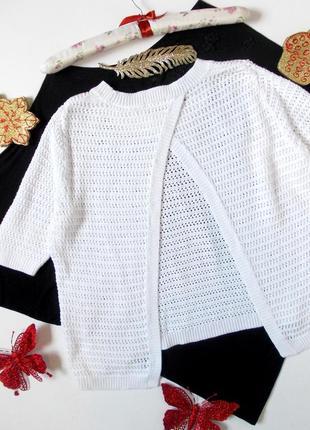 Белая кофточка свитер вязаный короткий с открытой спиной