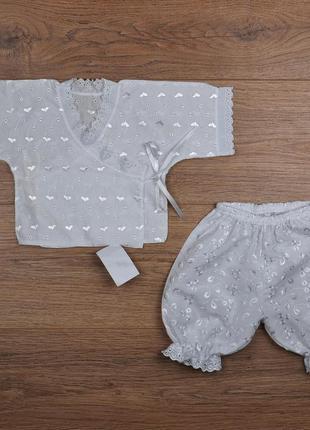 Крестильный комплект ришелье для девочки - кофта и шорты - р.56-62