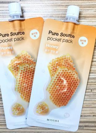 Ночная маска с медом missha honey pure source pocket pack, 10мл