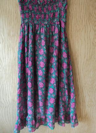 Платье хлопковое сарафан хлопковый открытыми плечами воланами воланом миди цветочек принт