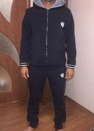 Костюм мужской спортивный ferrary теплый трехнить, мех капюшон штаны и кофта 44-56р5 фото