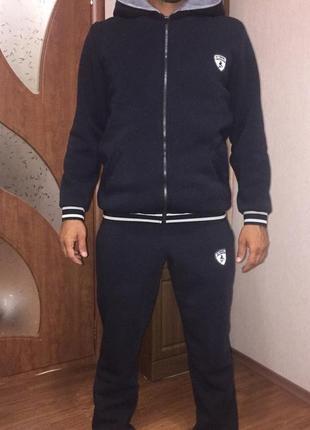 Костюм мужской спортивный ferrary теплый трехнить, мех капюшон штаны и кофта 44-56р4 фото