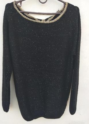Шикарная черная кофта с блестками и красивой спинкой
