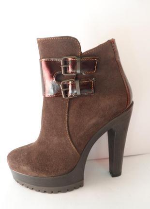 Коричневые замшевые осенние ботинки, натуральные, демисезонные