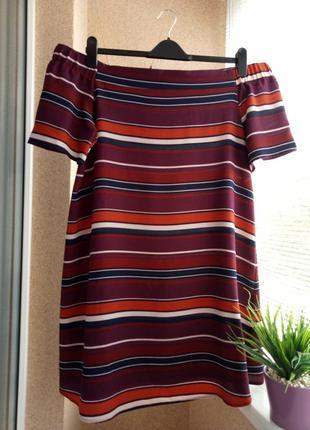 Супер модное платье мини с открытыми плечами в полоску