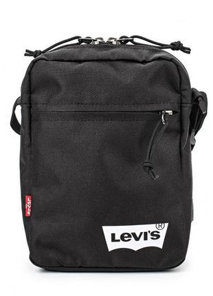 Черная мужская сумка мессенджер на плечо levi's