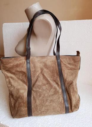 Люкс вместительная сумка нат кожа и замша made in italy