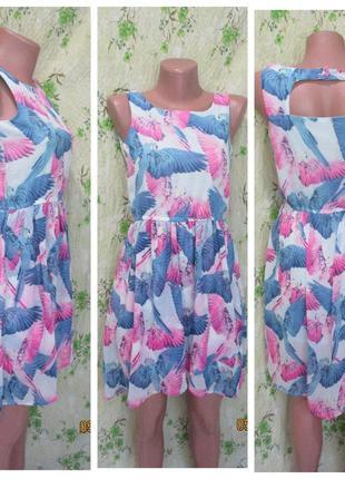 Яркое шифоновое платье с принтом попугаи 12-13-14 лет / 158 см