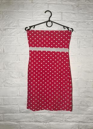 Ярко-розовое платье без бретелей в горошек xs/s