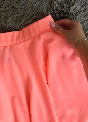 Яркая кислотная мини юбка-солнце xxs/xs
