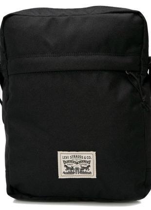 Черная мужская сумка мессенджер через плечо levi's