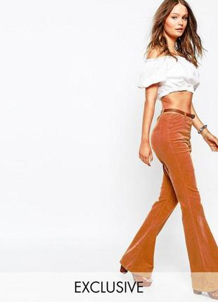 Вельветовые джинсы asos в стиле 70‑х с расклешенными штанинами