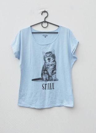 Хлопковая футболка с котом с надписью