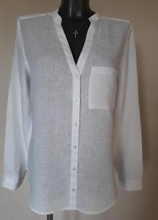 Стильная,качественная,натуральная льняная,100%лен,белоснежная рубашка chicoree