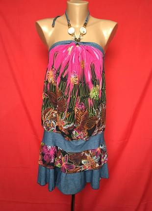 Летнее платье туника с бусами на завязках франция 36-38